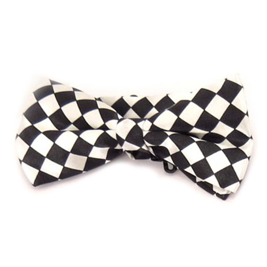 Noeud papillon \'Watson\' noir blanc - 12x55 cm - [A0525]