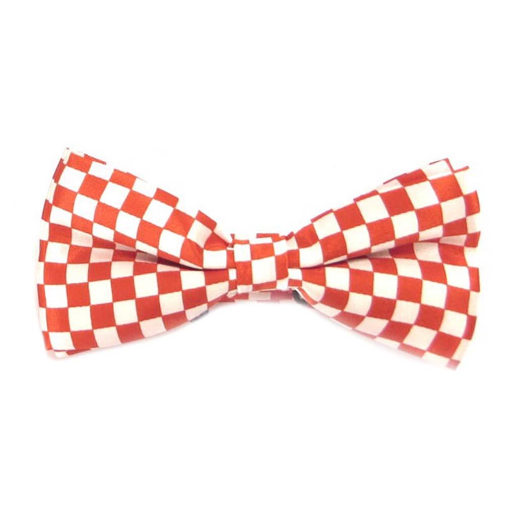 Noeud papillon \'Watson\' rouge blanc - 12x55 cm - [A0529]
