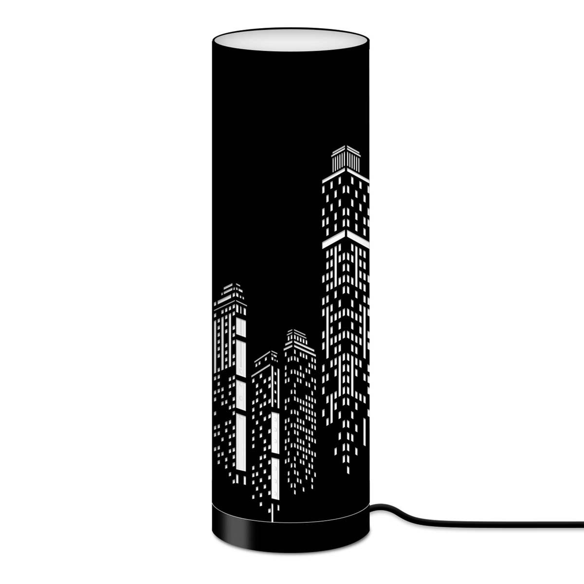 Lampe tube tissu \'Boho\' noir (building) - 63x20 cm - [A0538]