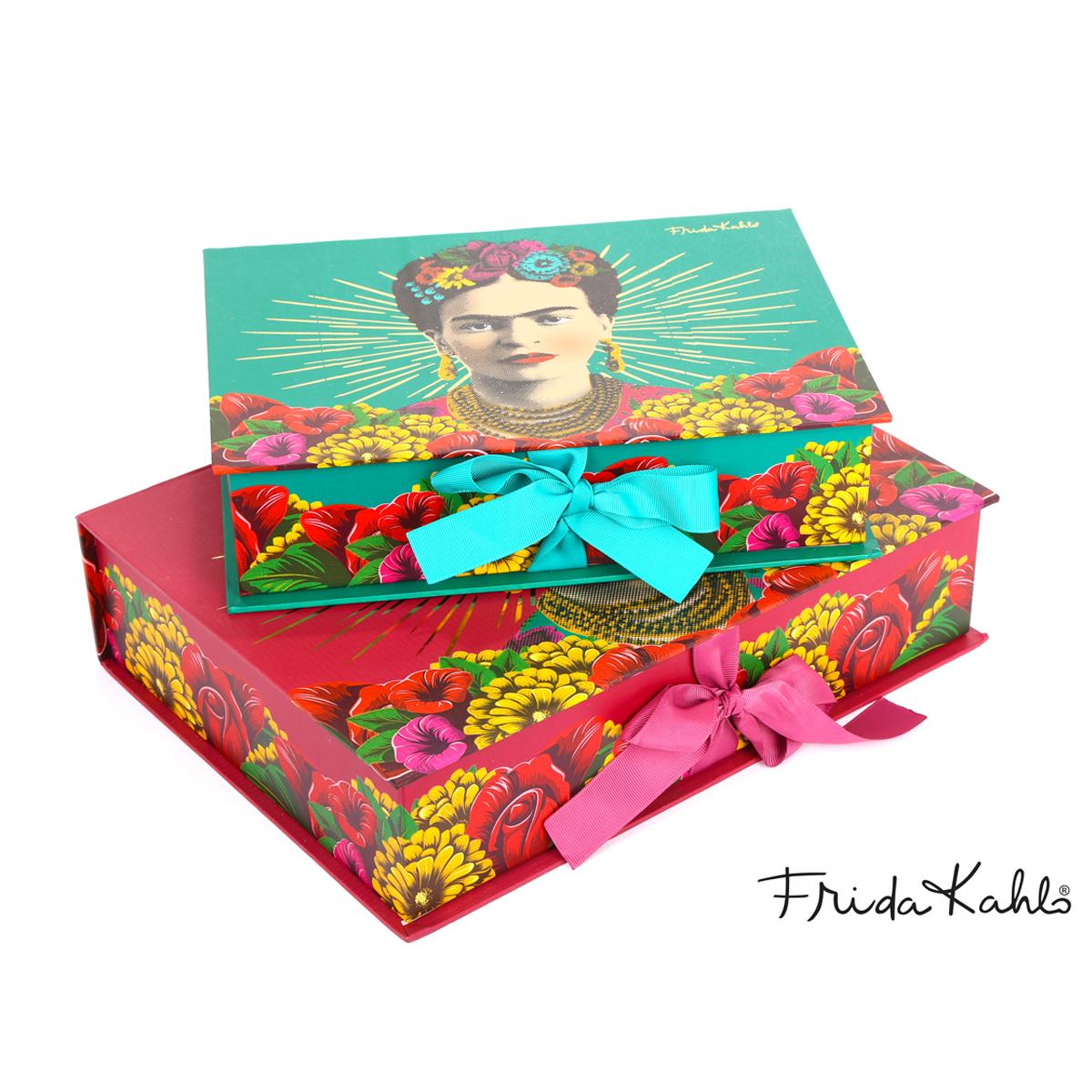 2 boites gigognes \'Frida Kahlo\' vert rouge - 33x24x8 cm et 28x20x7 cm - [A0606]