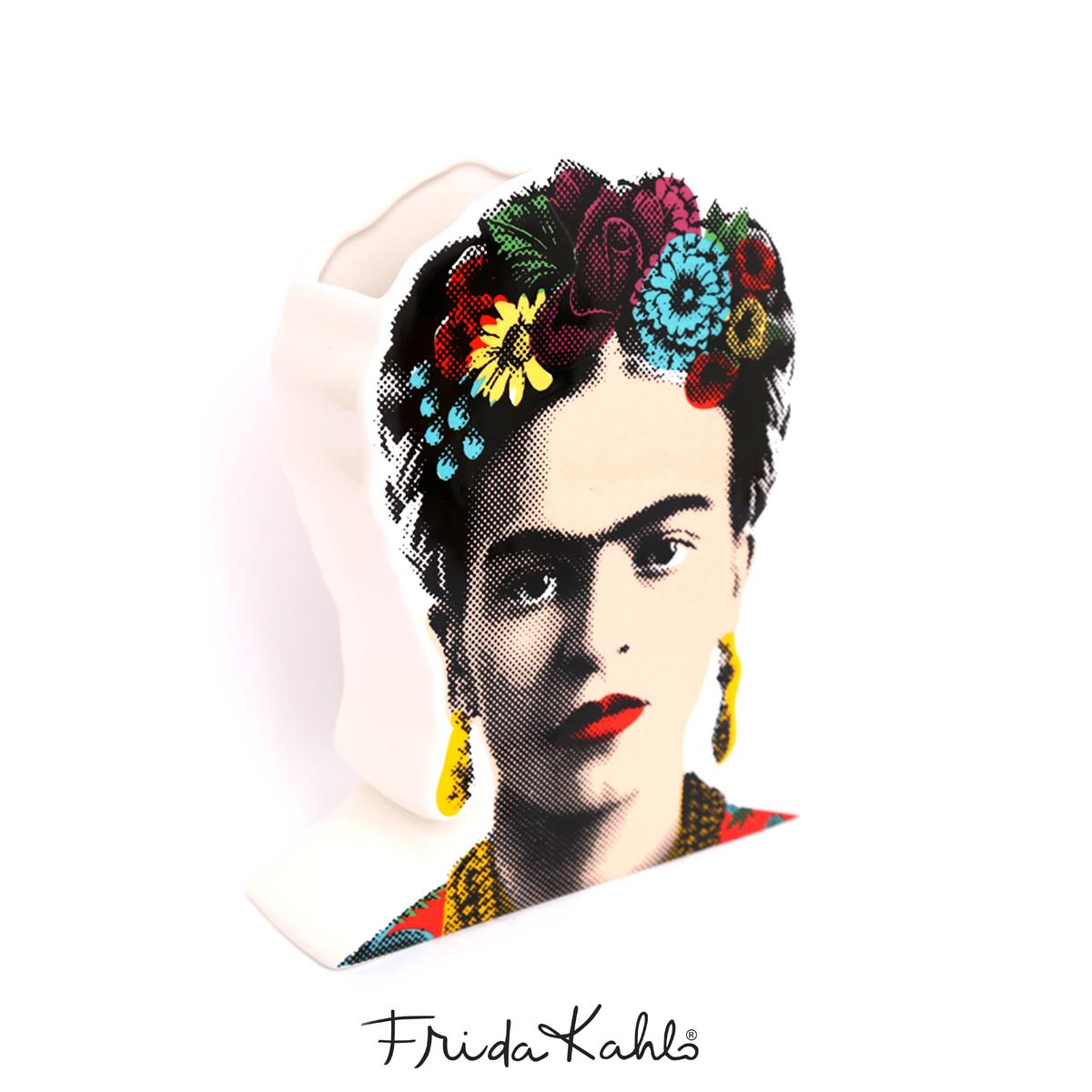 Vase céramique \'Frida Kahlo\' multicolore blanc - 23x18x6 cm - [A0608]