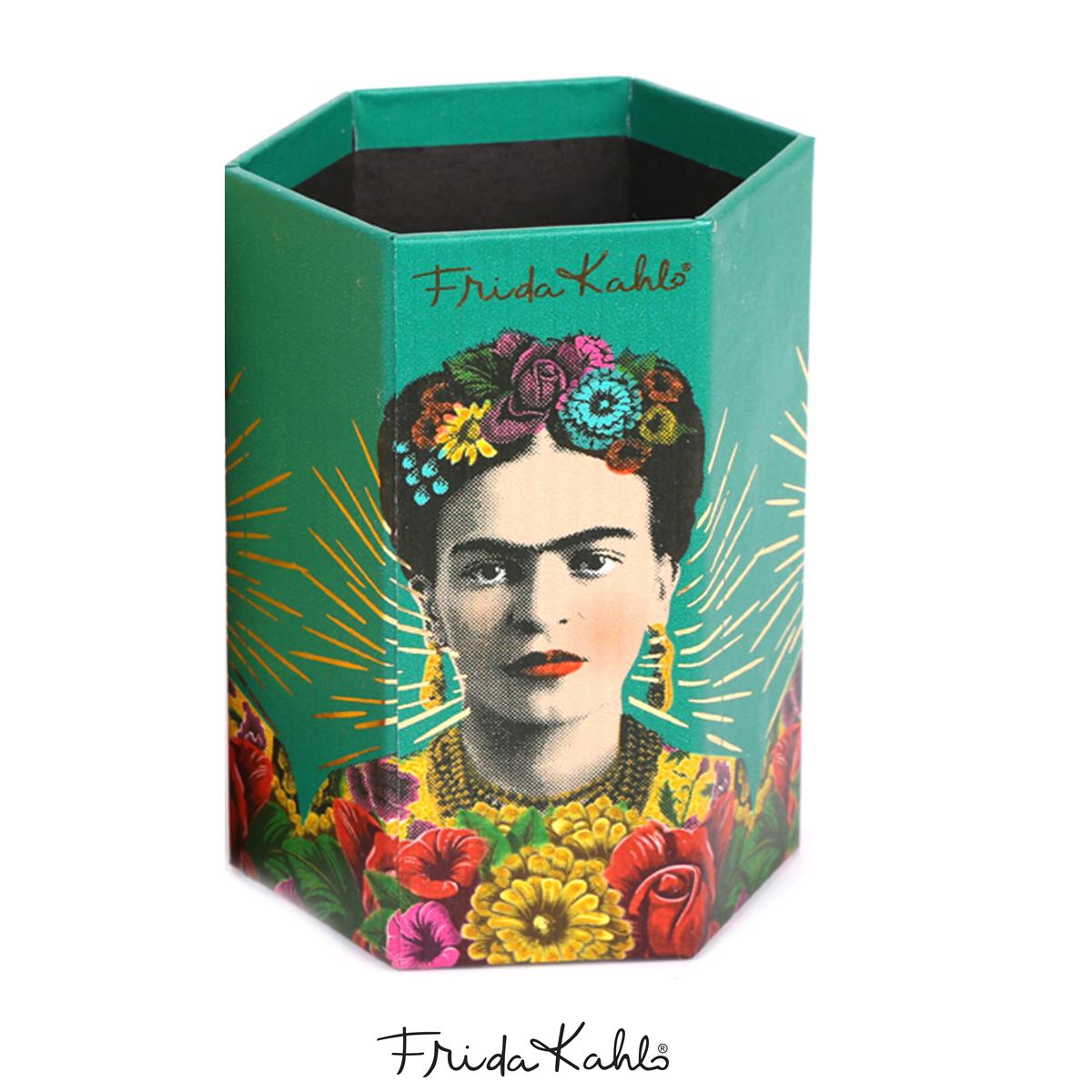 Pot A Crayons carton \'Frida Kahlo\' vert - 11x9x7 cm - [A0609]