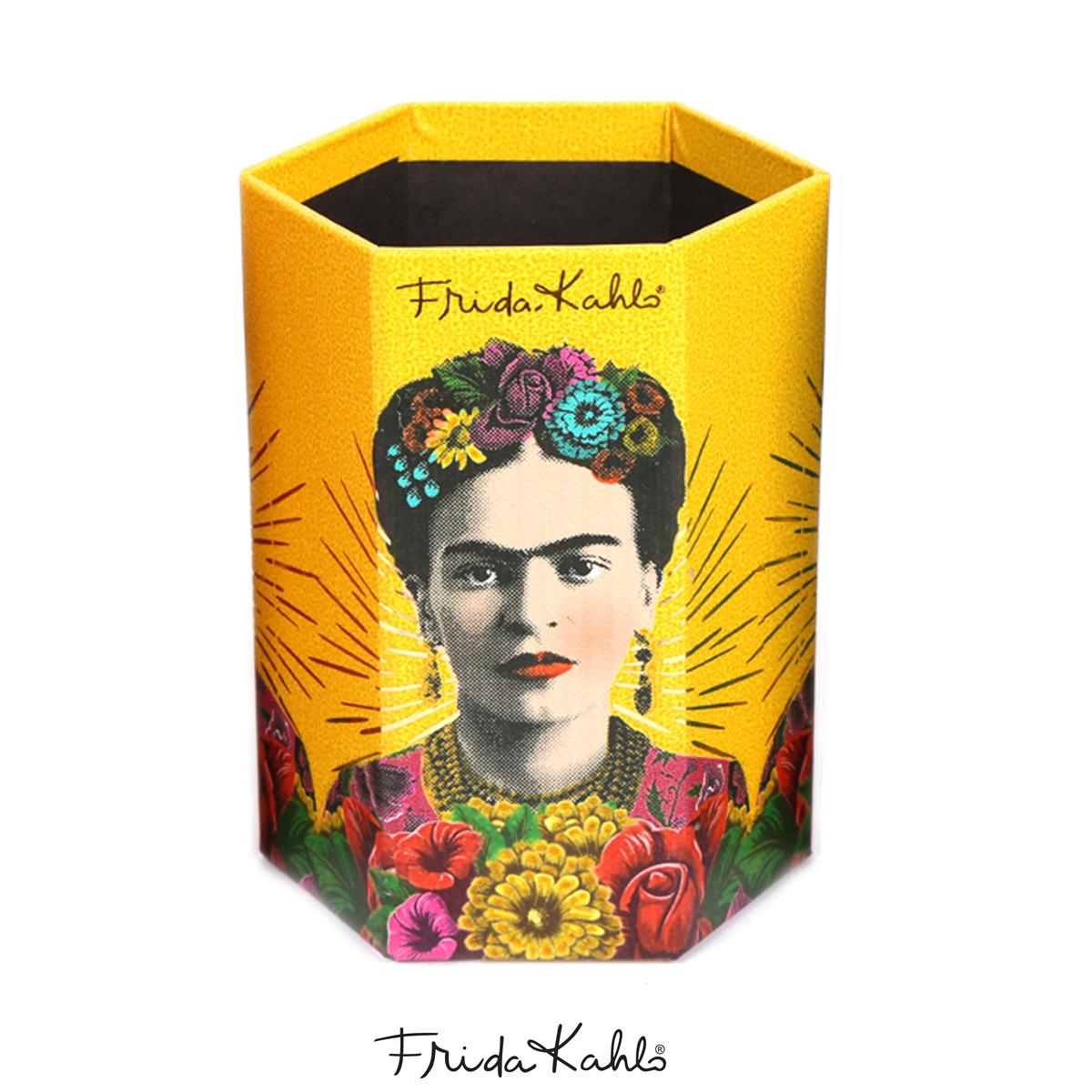 Pot A Crayons carton \'Frida Kahlo\' jaune - 11x9x7 cm - [A0610]