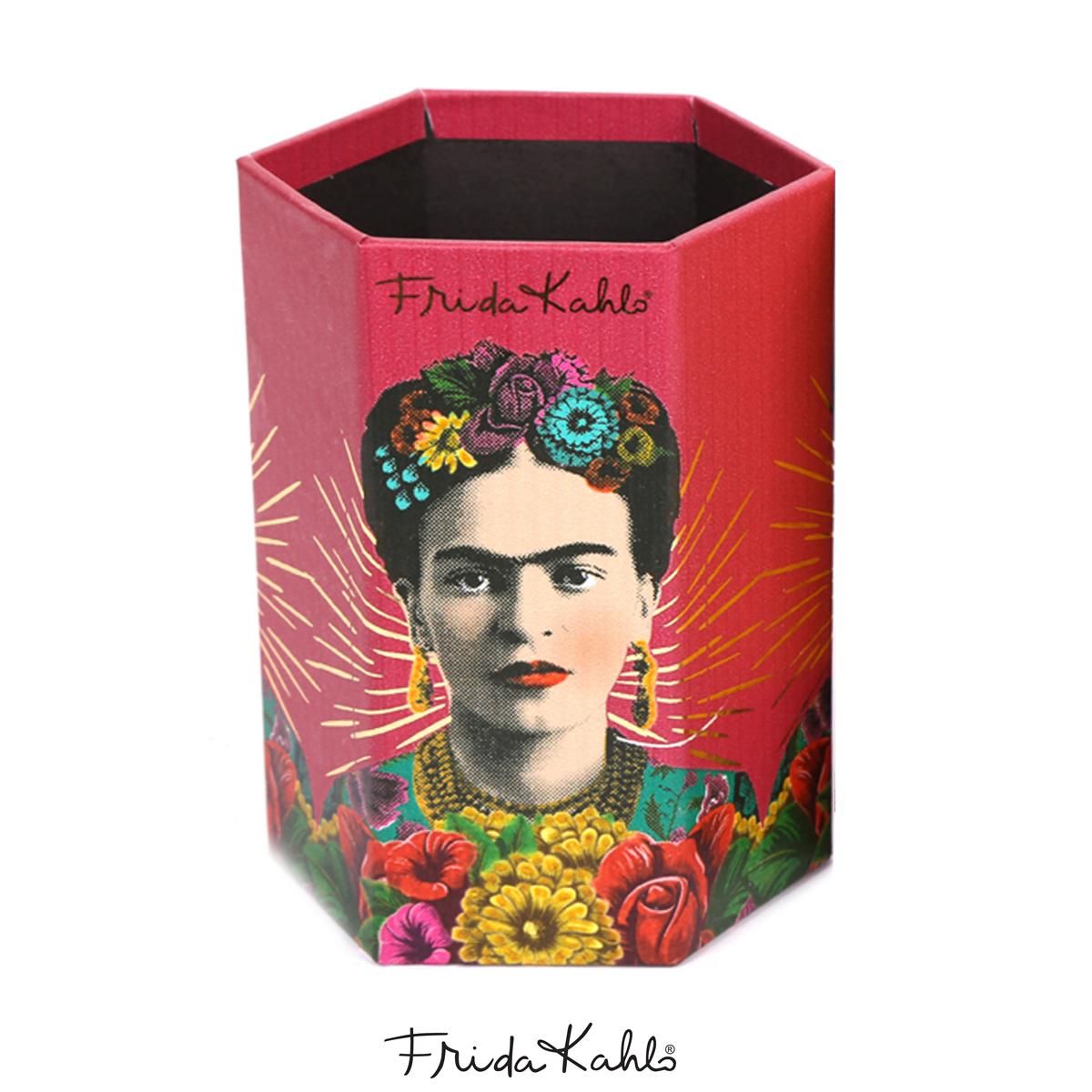 Pot A Crayons carton \'Frida Kahlo\' rouge rose - 11x9x7 cm - [A0611]