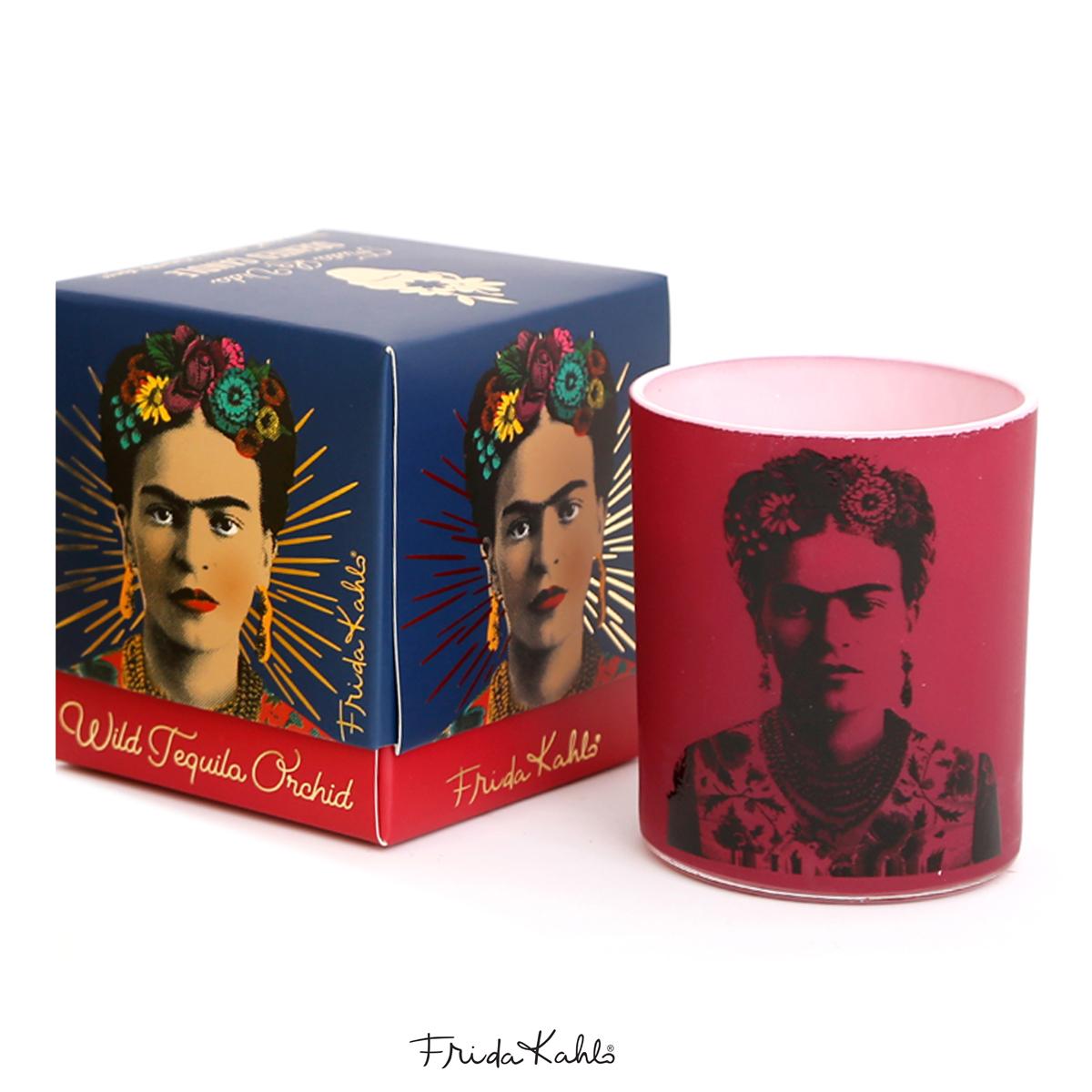 Bougie parfumée \'Frida Kahlo\' rouge (wild tequila orchid) - 8x7 cm - [A0612]