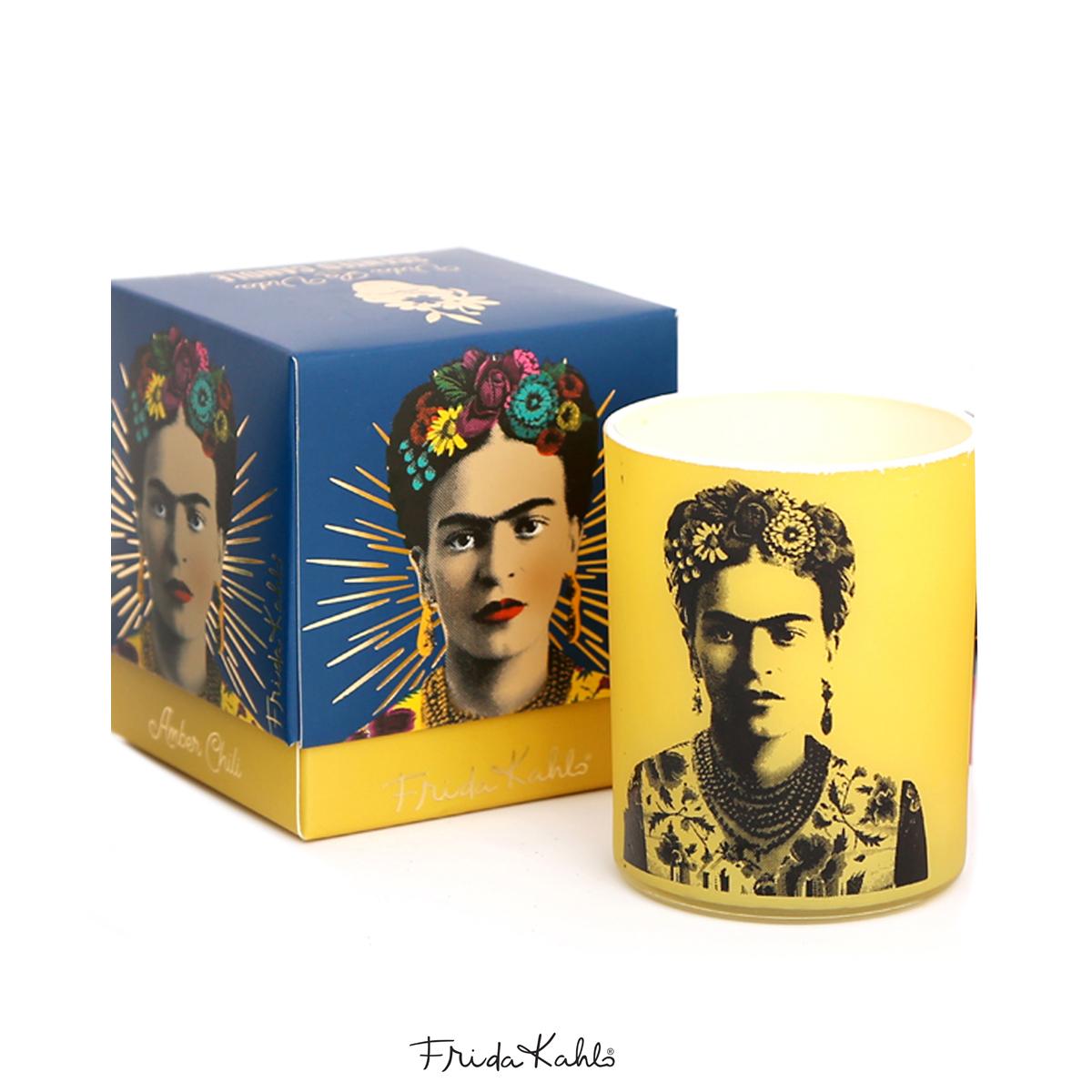 Bougie parfumée \'Frida Kahlo\' jaune (Amber Chili) - 8x7 cm - [A0613]