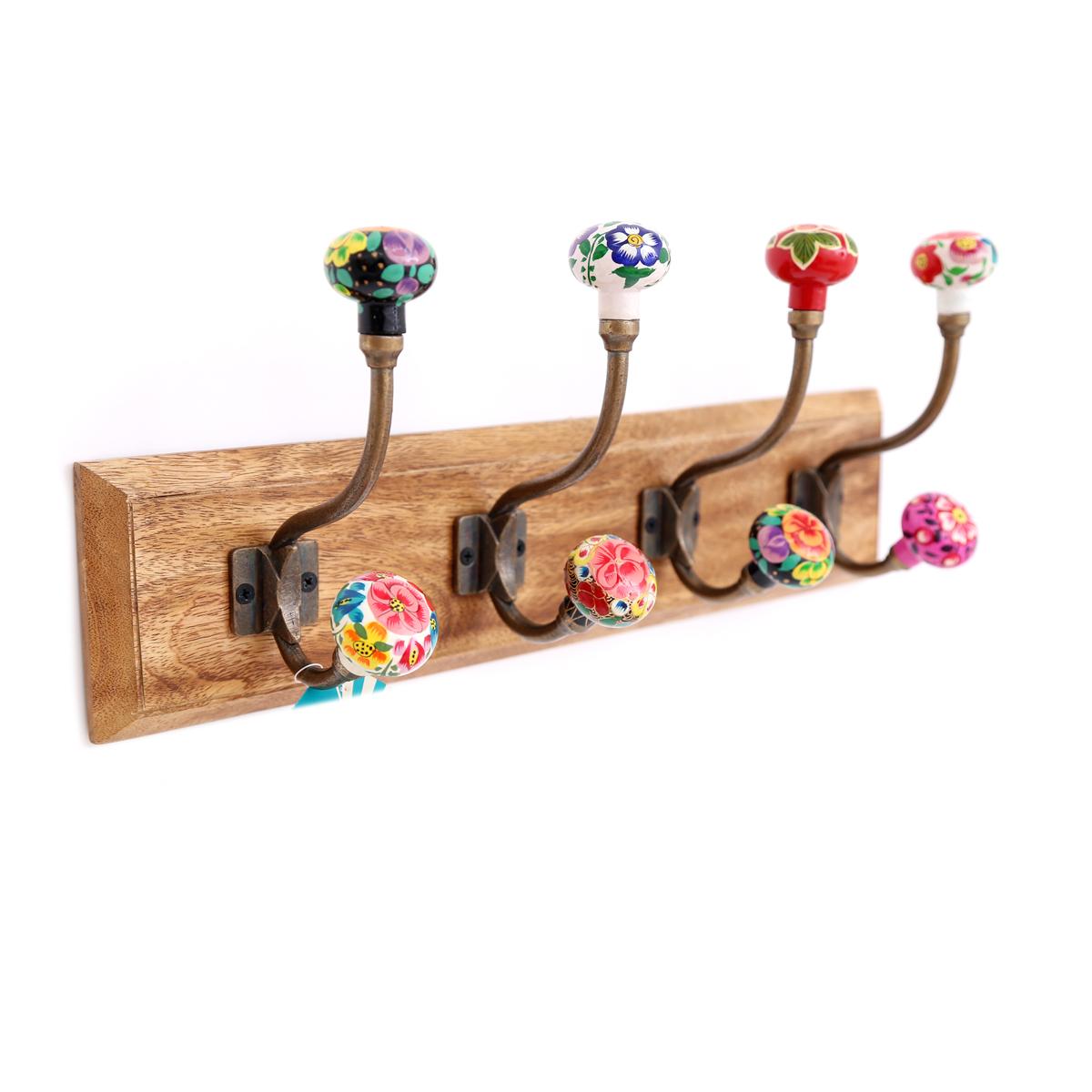 Patère design bois \'Boho\' batik (8 têtes) - 44x16x8 cm - [A0619]