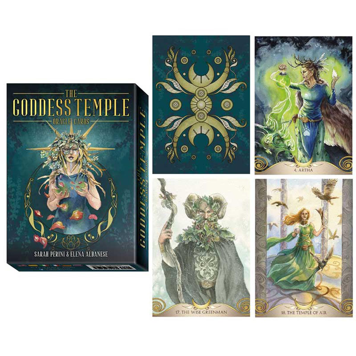 Jeu de cartes d\'inspiration \'The Goddess Temple\' vert (oracles) - 135x10x3 cm - [A0625]