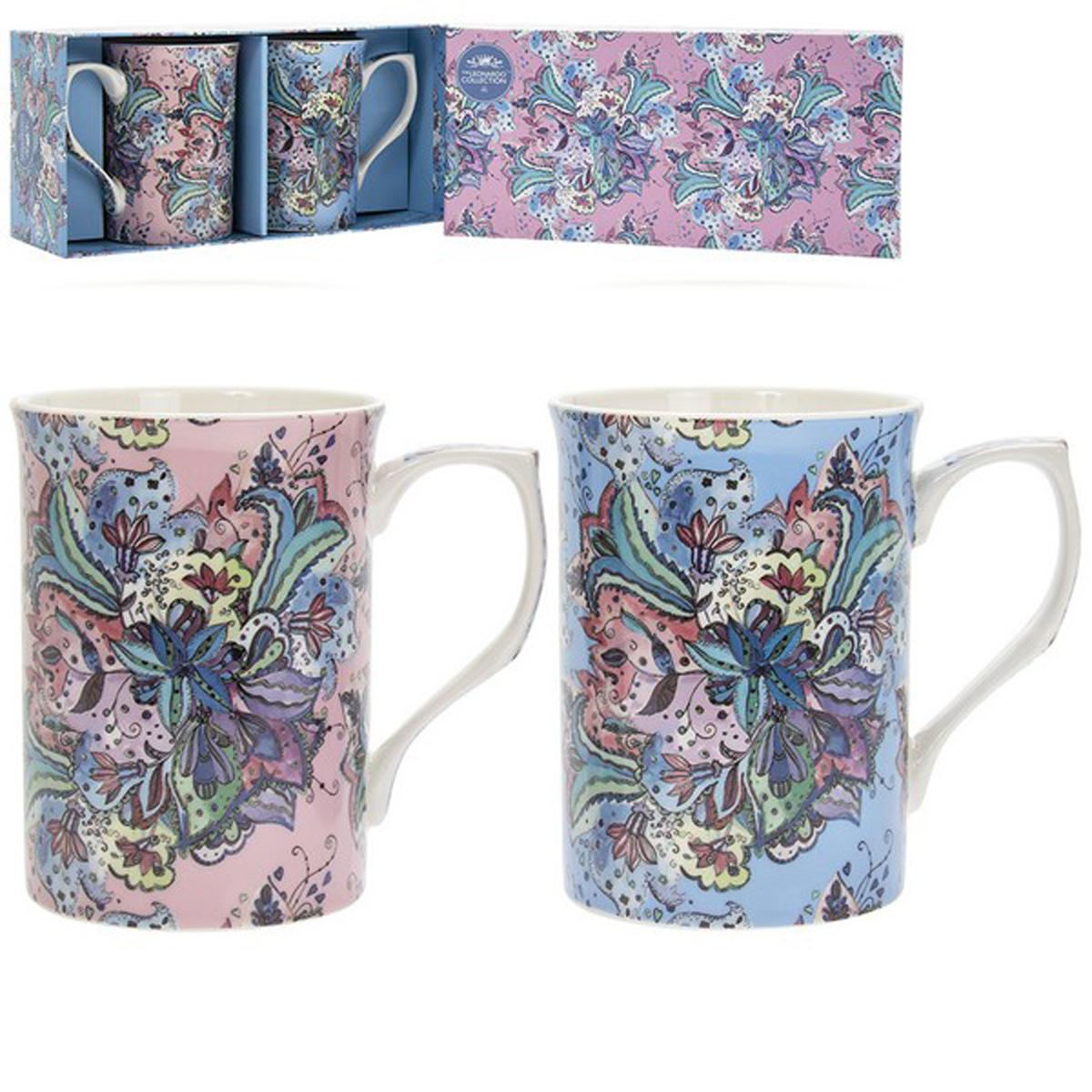 Coffret 2 mugs porcelaine \'Lucerne\' rose bleu - 10x75 cm (léopard) - [A0733]