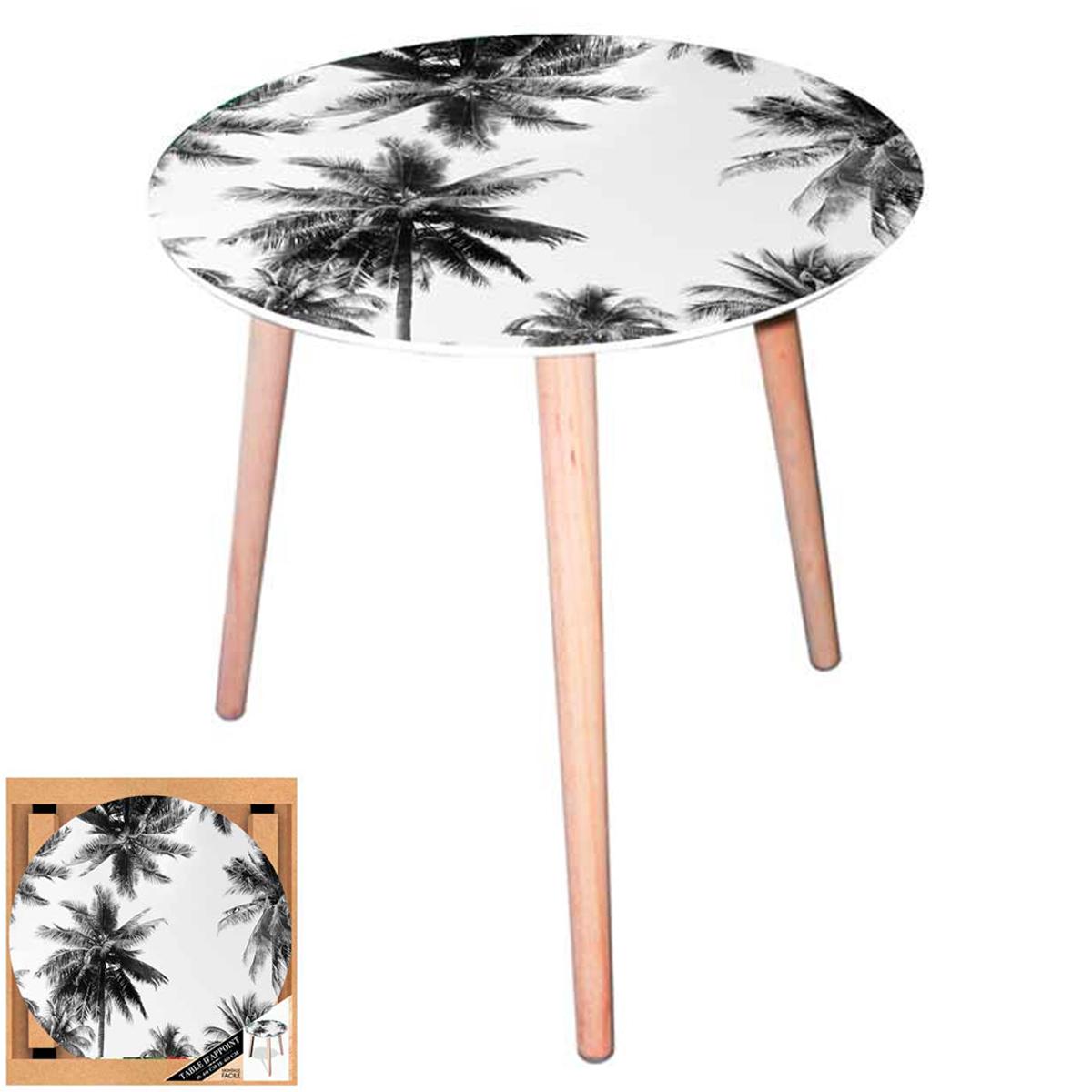 Table ronde verre \'Palmiers\' noir blanc - 40 cm - [A0744]