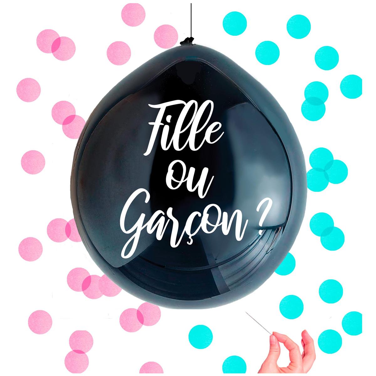 Ballon confettis \'Baby Shower\' noir (fille ou garçon ?) - 1 m - [A0745]