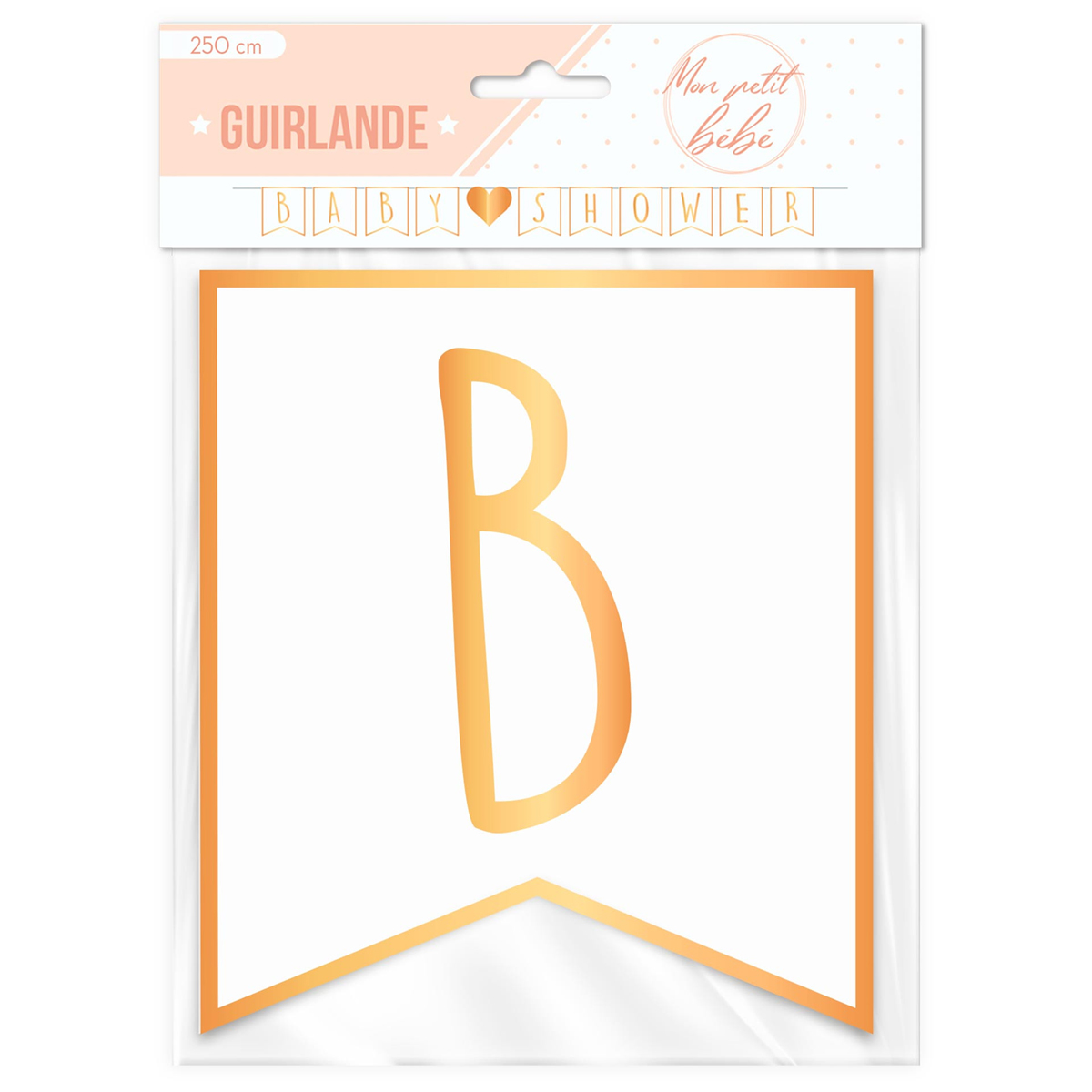 Guirlande \'Baby Shower\' blanc doré - 25 m 17 cm - [A0748]