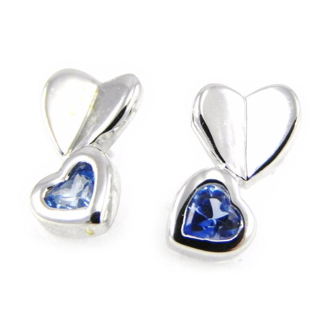 Boucles Argent \'Love Sweet Love\' bleu - [G6927]