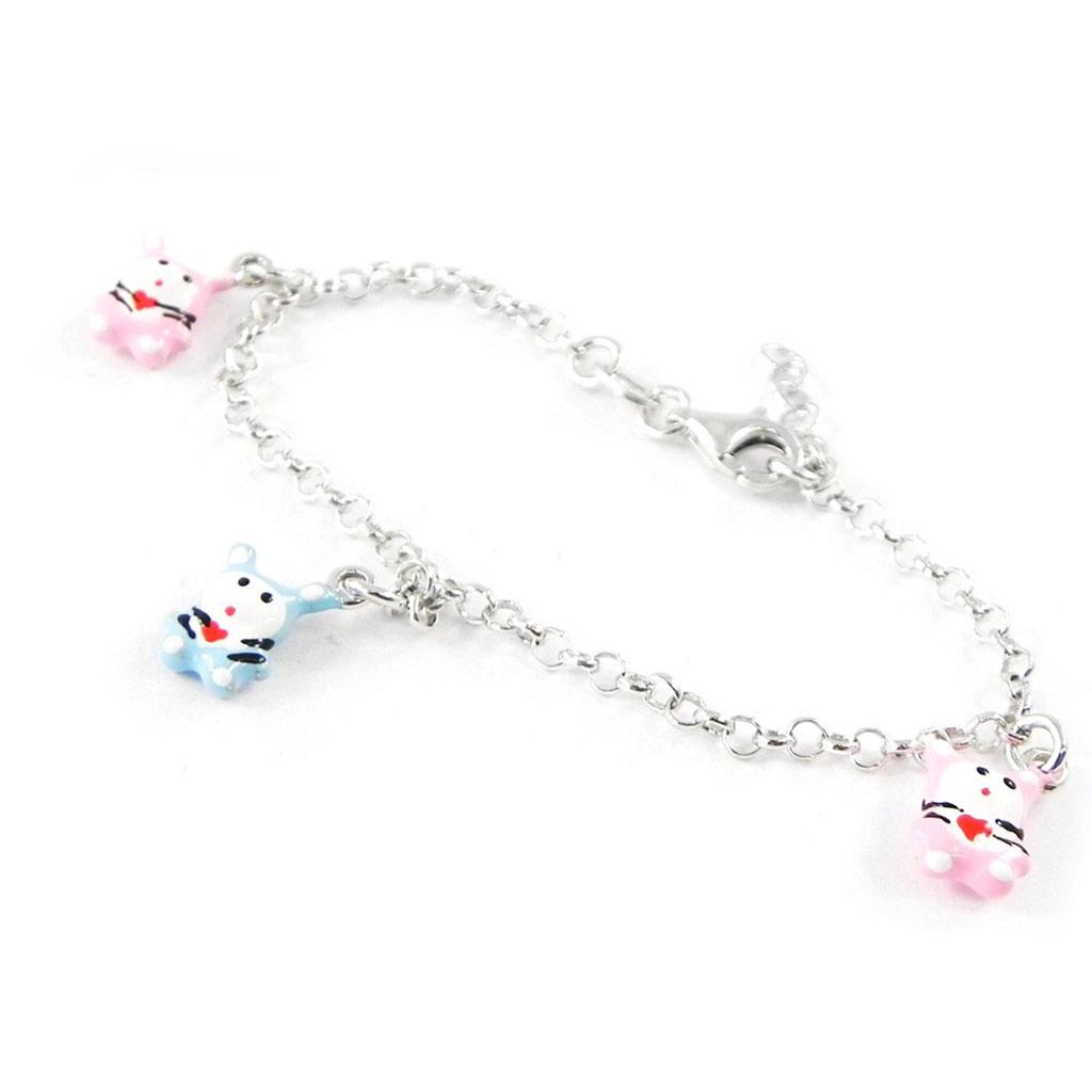 Bracelet Enfant \'Chats\' bleu rose S&B - [H9133]