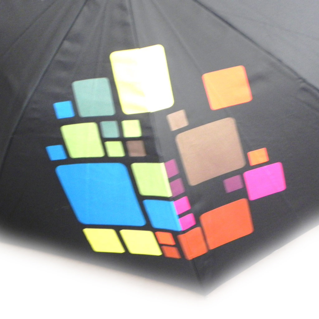 Parapluie Neyrat \'Abstraction\' noir multicolore canne - [I0232]