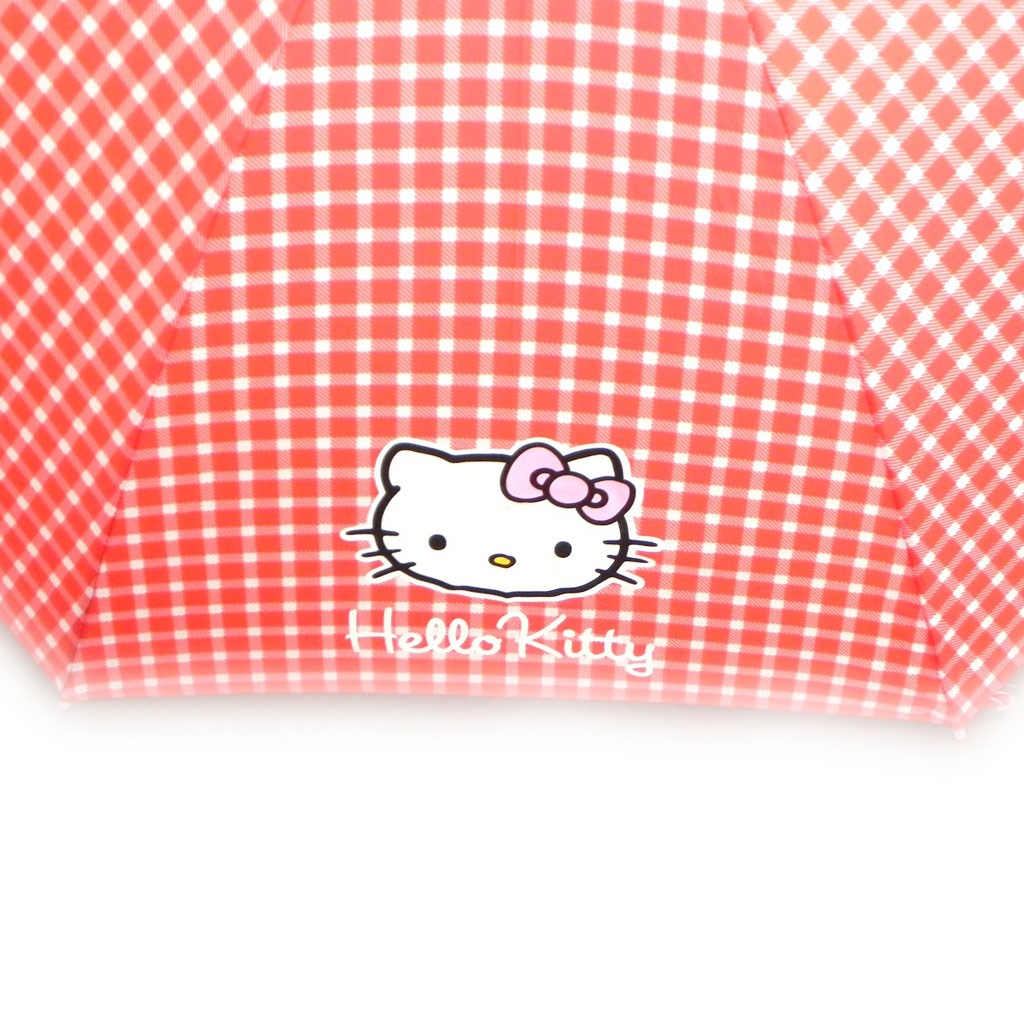Parapluie canne \'Hello Kitty\' rouge vichy - [I0241]