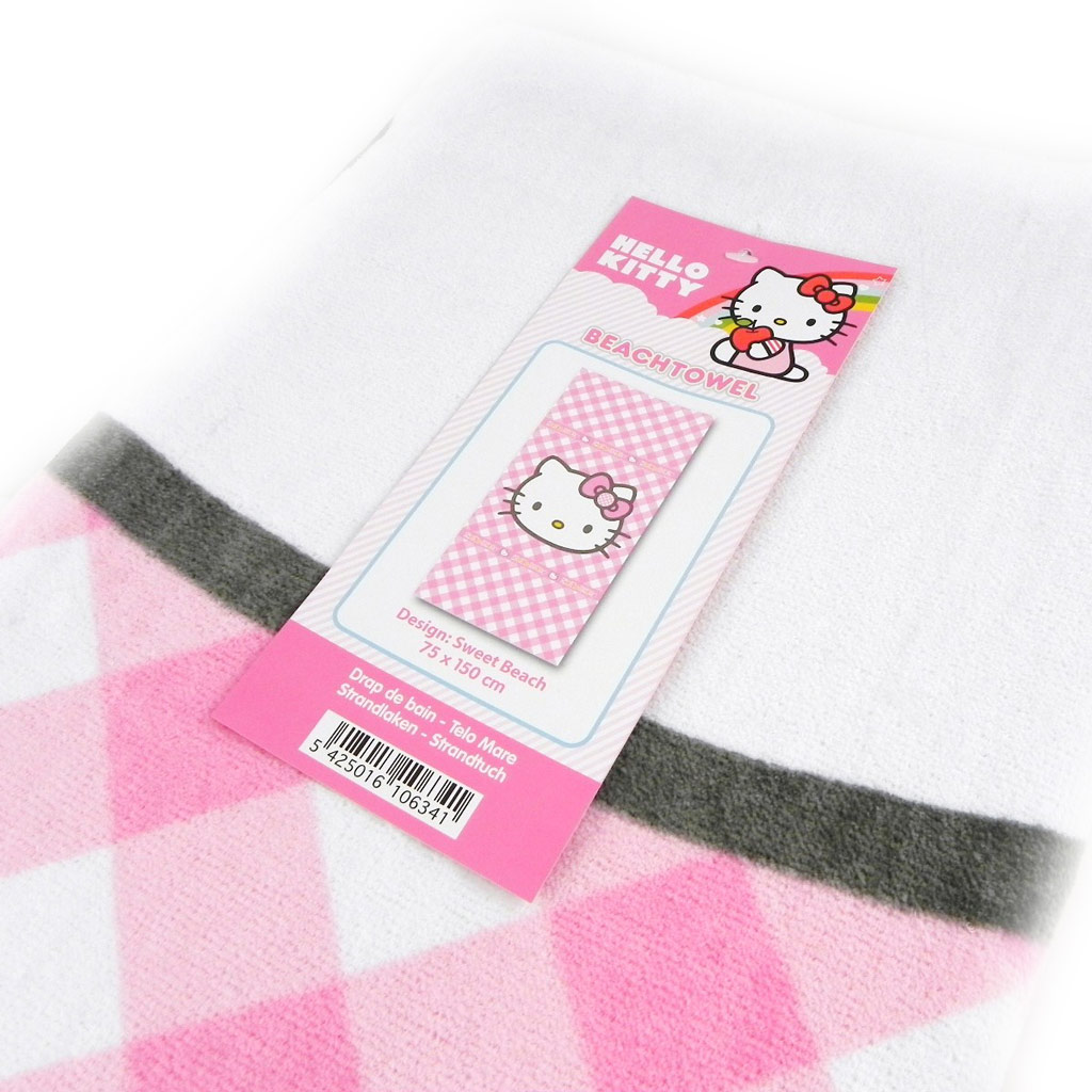 Drap de bain \'Hello Kitty\' rose vichy (75x150 cm) - [I0849]