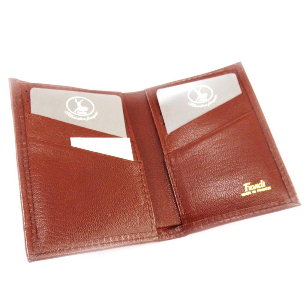 Porte-cartes Cuir \'Frandi\' cognac (chèvre) - [J4439]