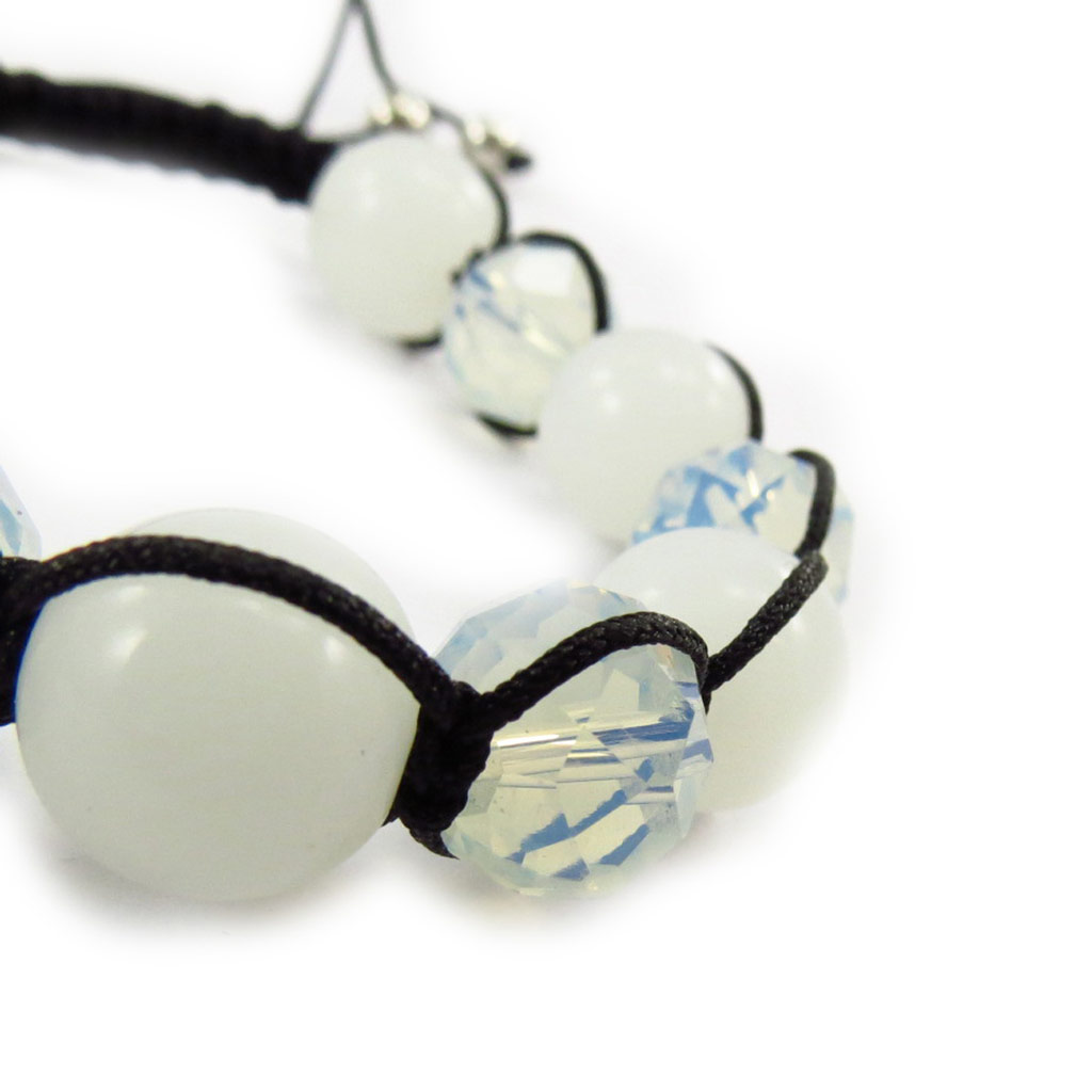 Bracelet ethnique \'Shambhala\' blanc opalescent  - [J6886]