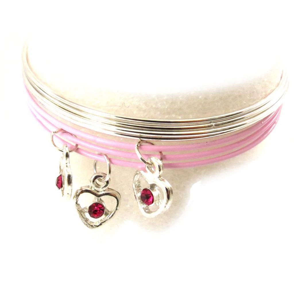 Bracelet créateur \'Love\' rose argenté - [J6934]