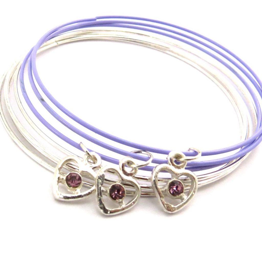 Bracelet créateur \'Love\' lilas argenté - [J6936]