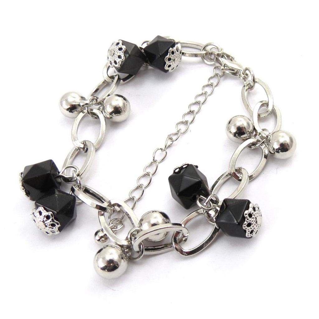 Bracelet créateur \'Scarlett\' noir argenté - [J7751]