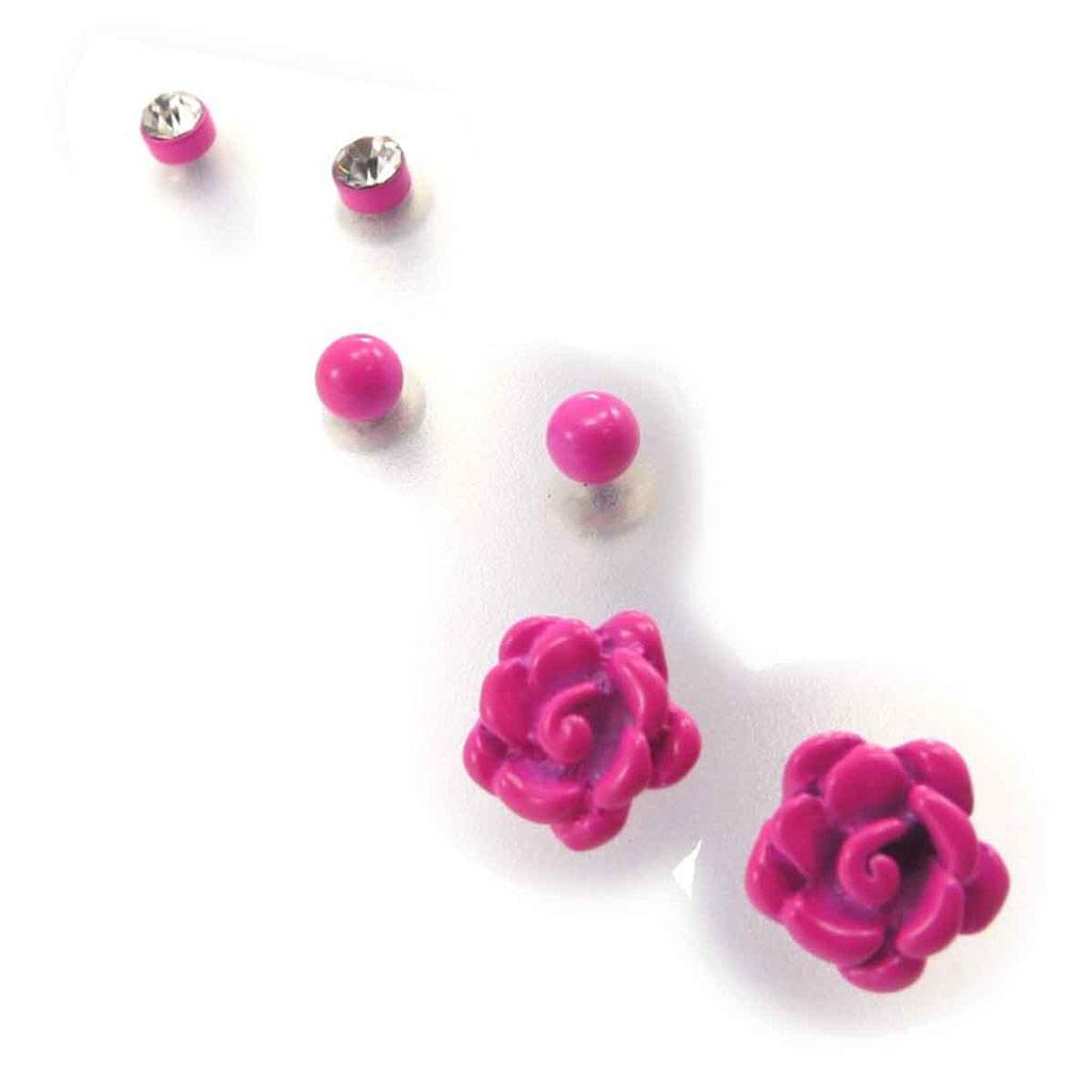 3 paires de boucles \'Rosa Romantica\' fuschia  - [J7842]