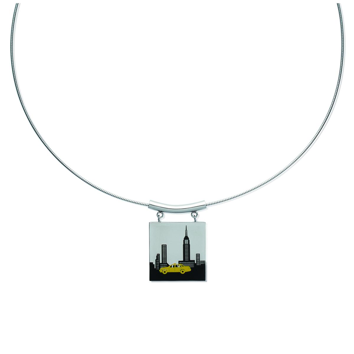 Collier acier \'New York\' noir jaune argenté - 45 cm 25x25 mm - [K2416]