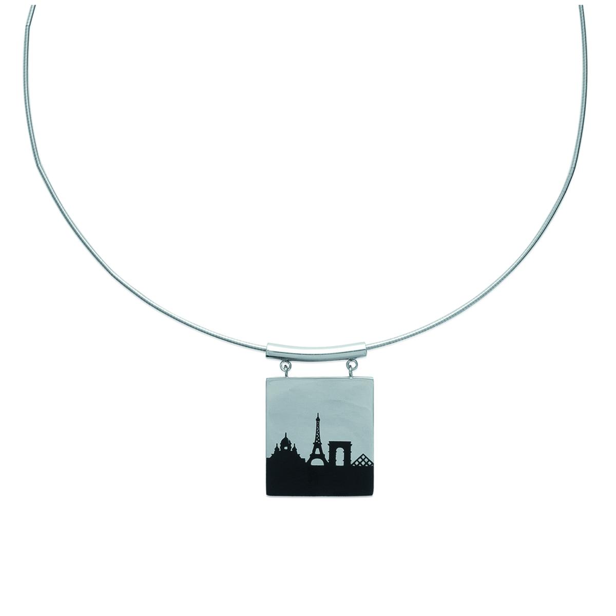 Collier acier \'Paris\' noir argenté - 45 cm 25x25 mm - [K2417]