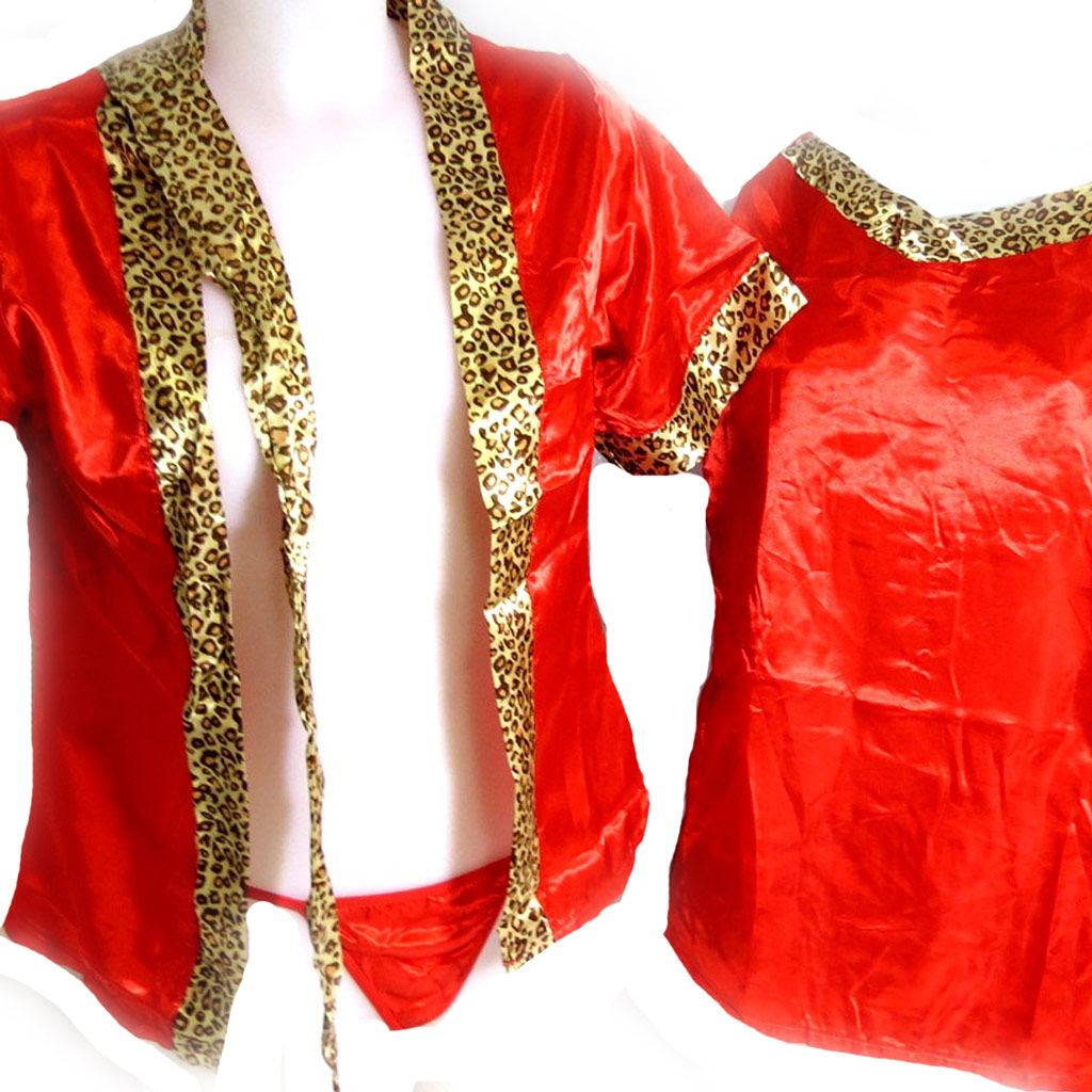 Kimono \'Scarlett\' rouge léopard (3 pièces) - [K8483]