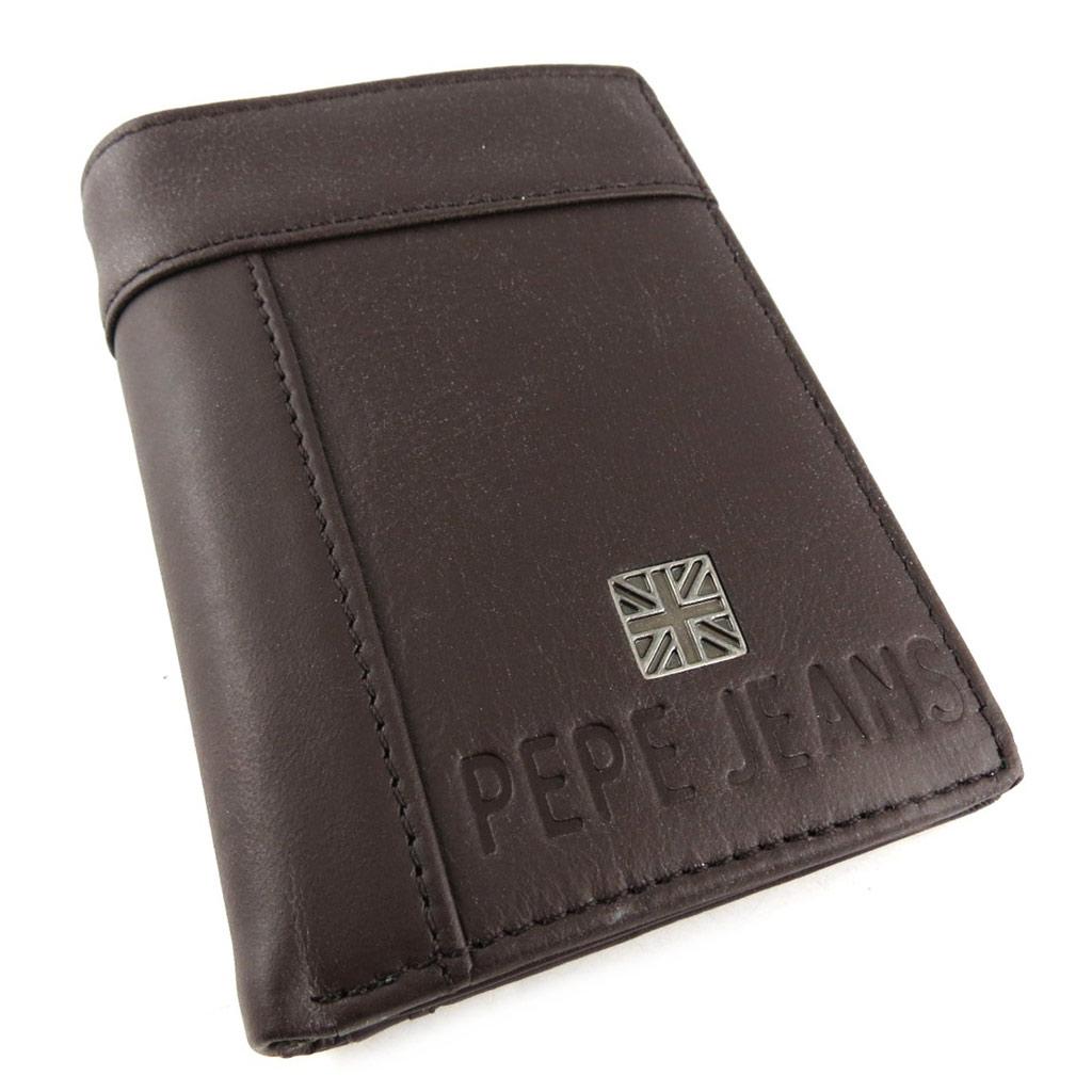 Petit portefeuille cuir \'Pepe Jeans\' marron  - [K8812]