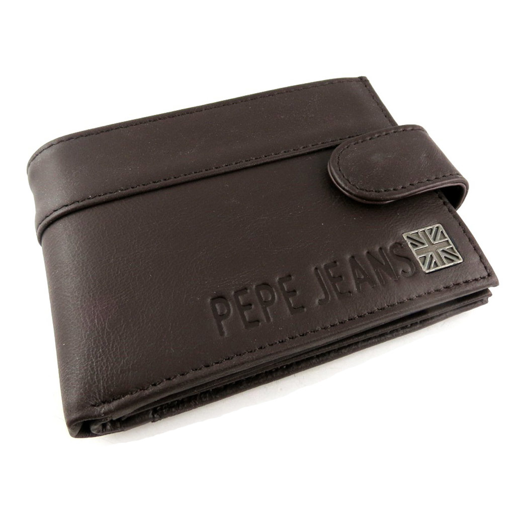 Portefeuille italien cuir \'Pepe Jeans\' marron  - [K8814]