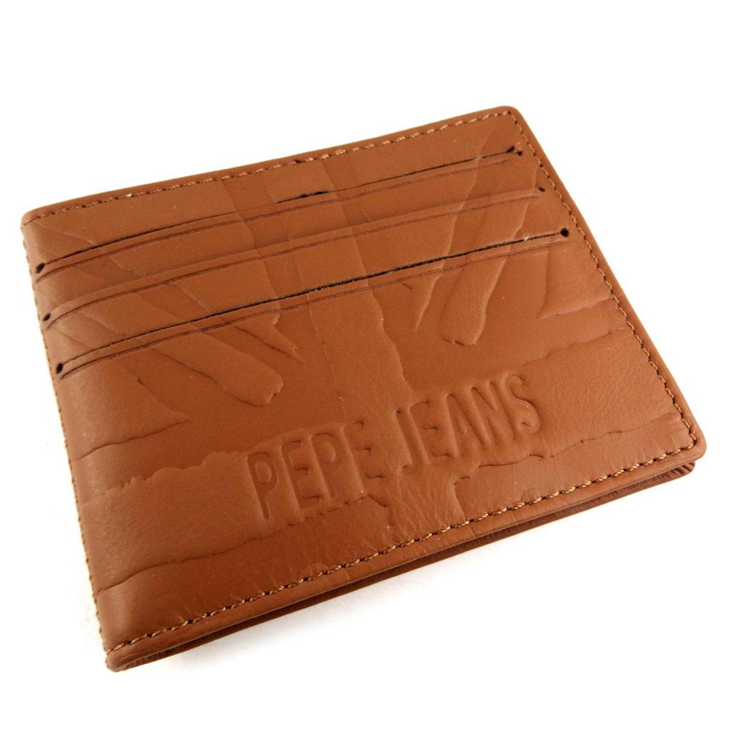 Porte-cartes cuir \'Pepe Jeans\' cognac  - [K8822]