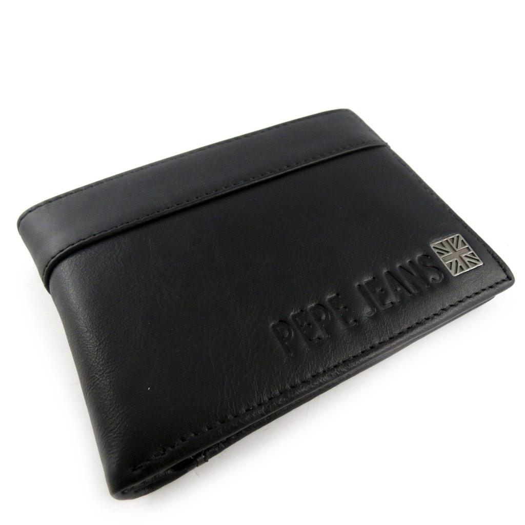 Portefeuille italien cuir \'Pepe Jeans\' noir  - [K8833]
