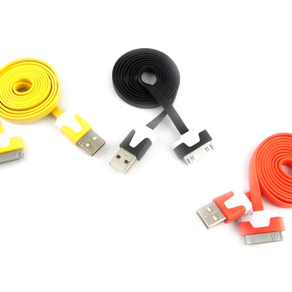 3 cables USB \'Coloriage\' iphone ipad (jaune noir orange) - [K9276]