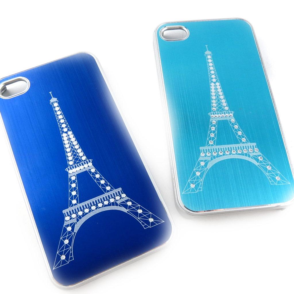 2 coques créateur \'Tour Eiffel\' Iphone 4 4S (bleu turquoise) - [K9298]