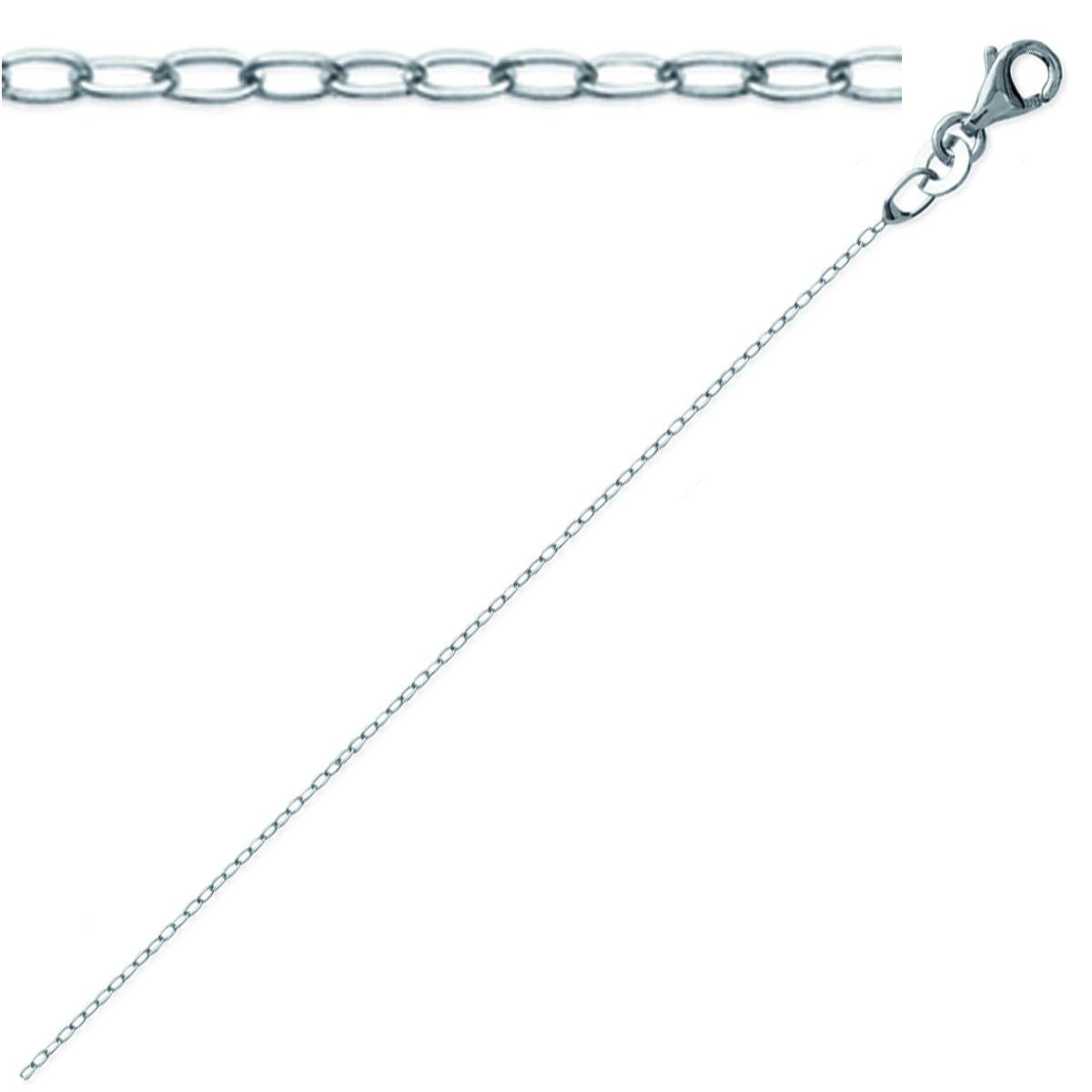Chaine Argent \'Forçat\' argenté (rhodié) - 42 cm 1 mm - [K9307]