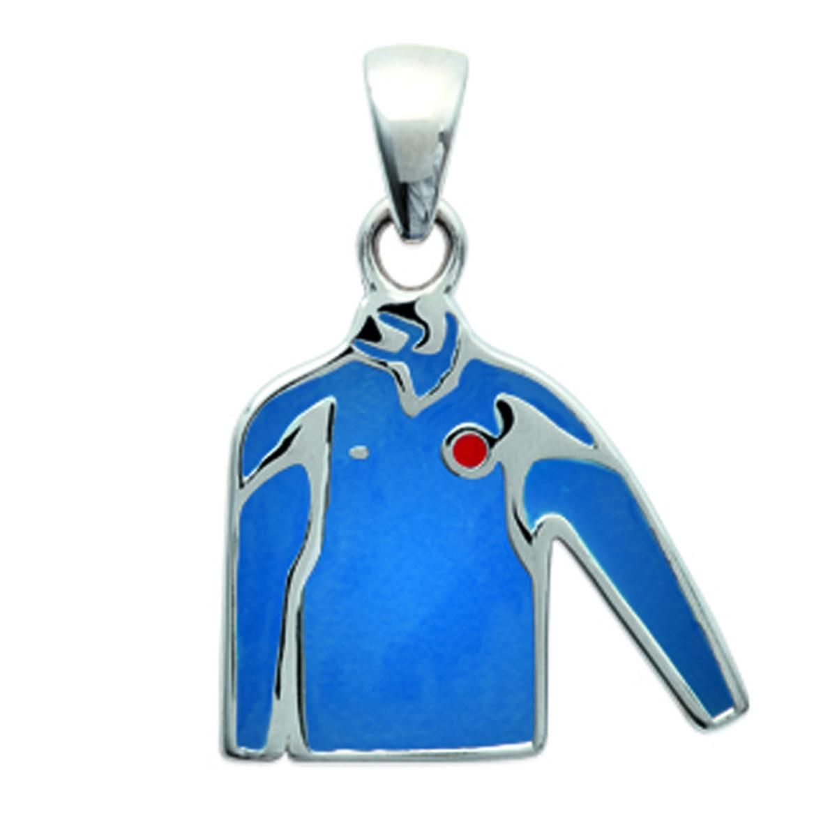 Pendentif Argent \'Gardien de but\' bleu argenté - 17x15 mm - [K9316]