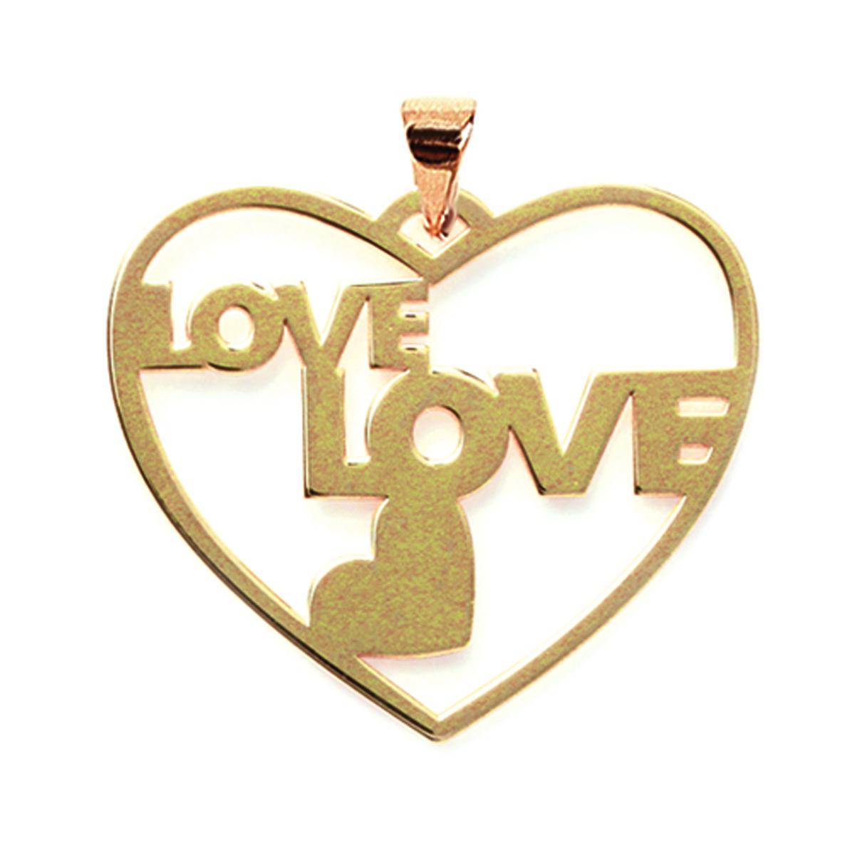 Pendentif Plaqué Or \'Love\' doré - 33x29 mm - [K9329]