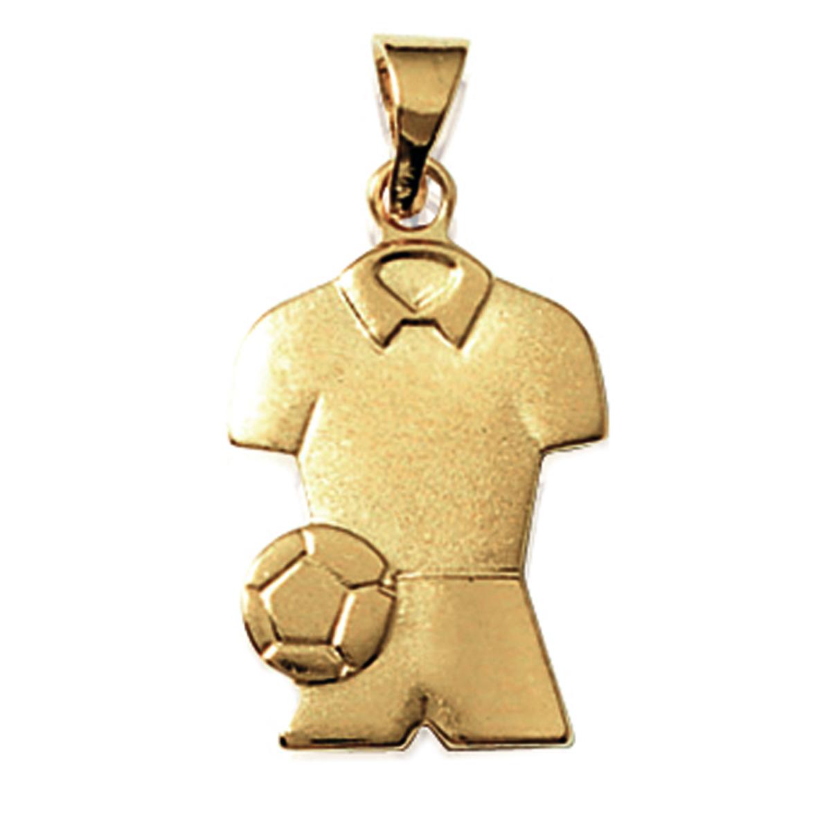 Pendentif Plaqué Or \'Passion Football\' doré - 18x13 mm - [K9330]