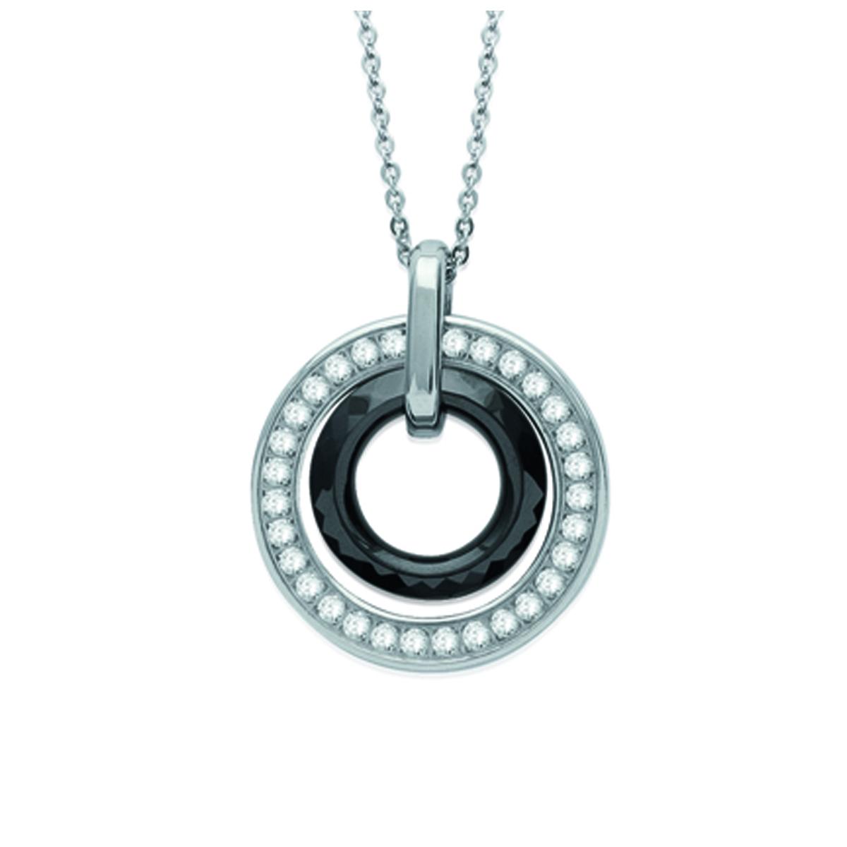 Collier acier \'Sissi\' nolir argenté (céramique) - 28 mm - [K9350]