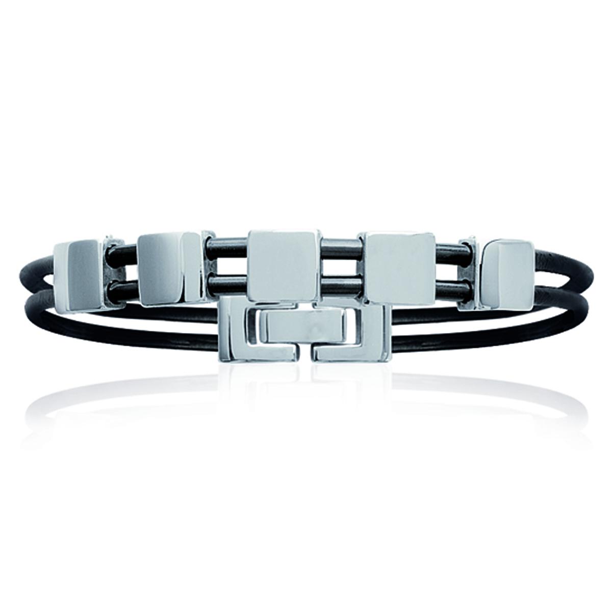 Bracelet mixte \'Peaceful\' noir argenté - 18 cm 8 mm - [L0450]