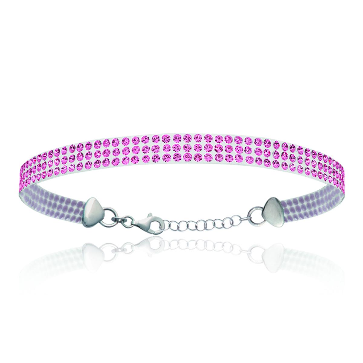Bracelet Argent \'Sissi\' rose (cristal) - 5 mm - [L0468]