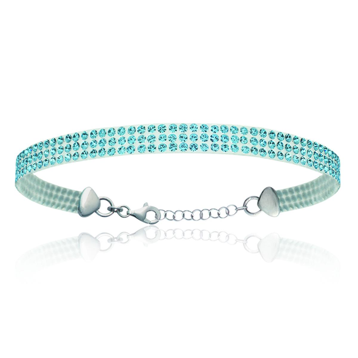 Bracelet Argent \'Sissi\' bleu (cristal) - 5 mm - [L0469]