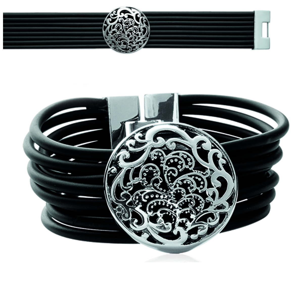 Bracelet acier silicone \'Carmen\' noir argenté - 25 mm, motif 33 mm - [L0470]