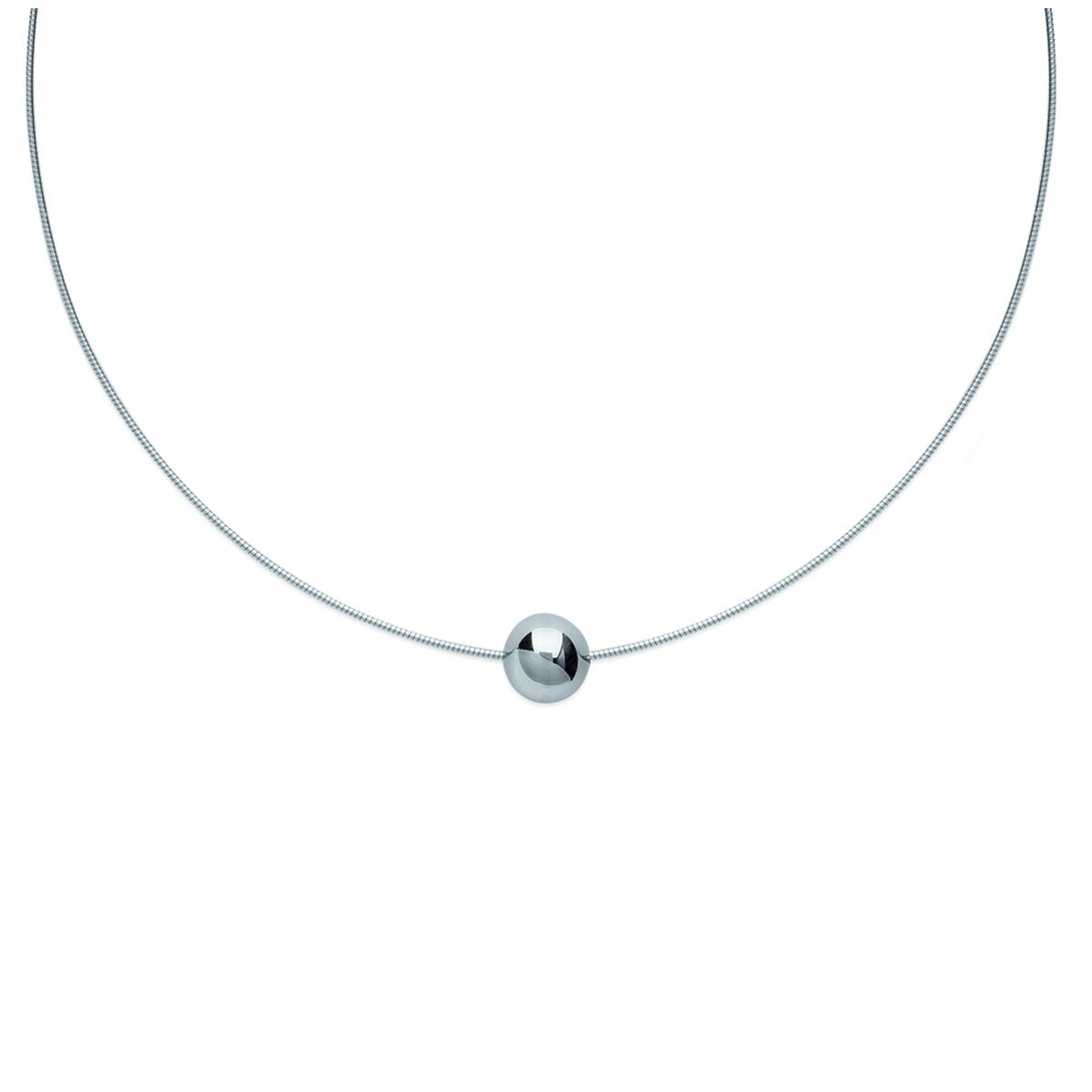 Collier acier \'Chorégraphie\' argenté - 10 mm - [L0471]