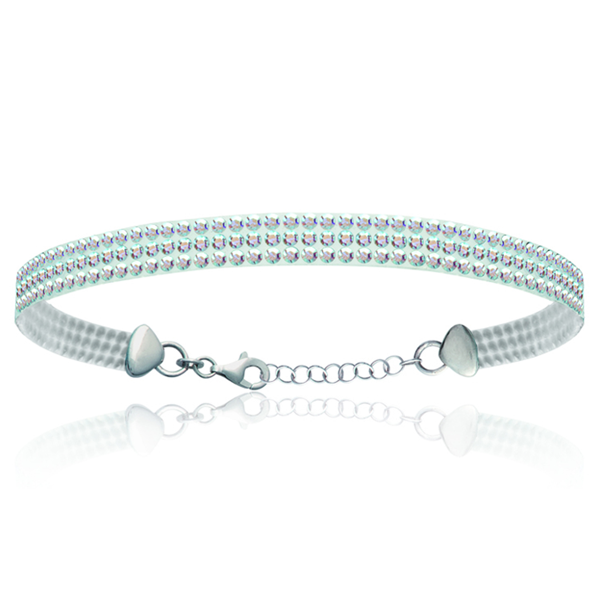 Bracelet Argent \'Sissi\' blanc boréal (cristal) - 5 mm - [L0492]