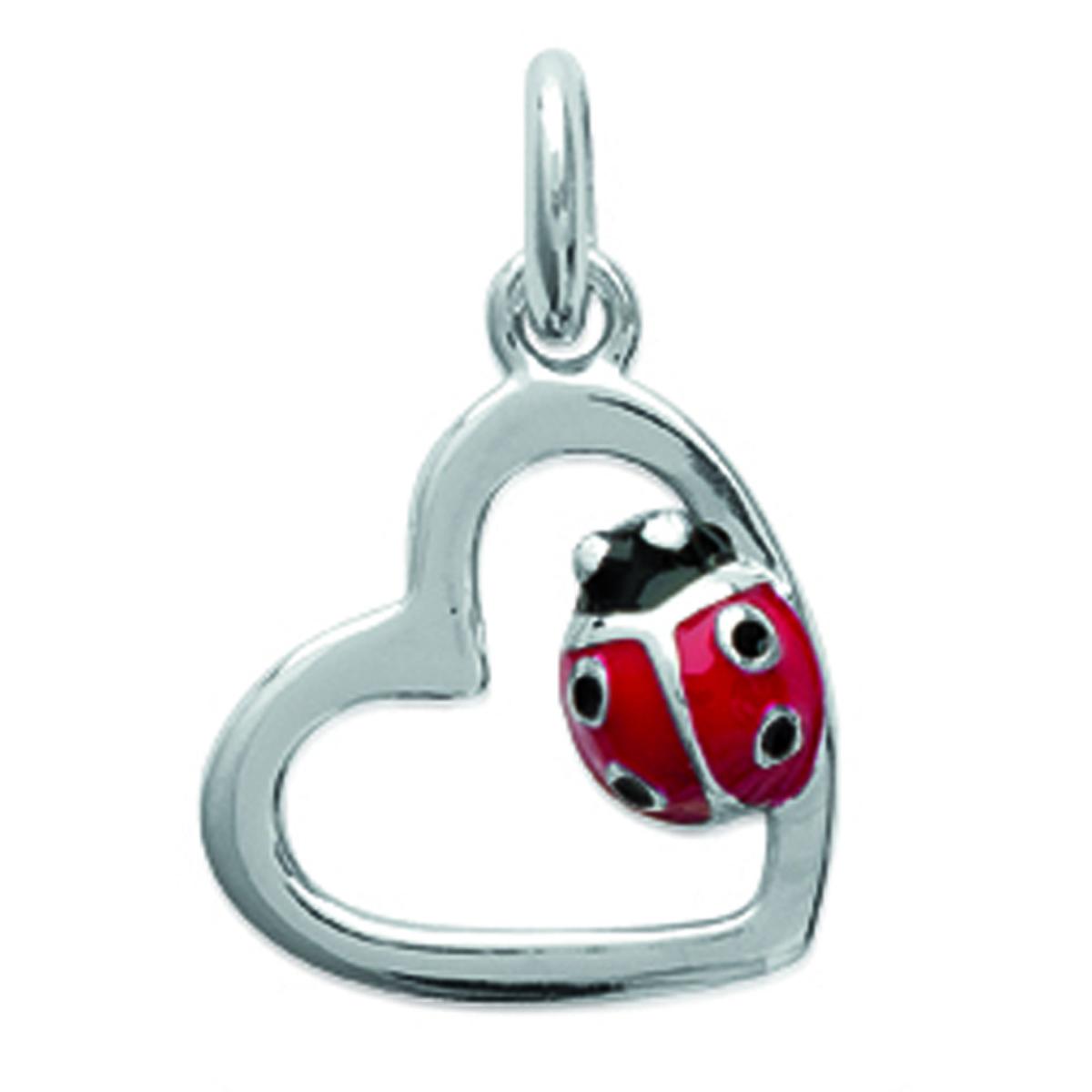 Pendentif Argent \'Coccinelle\' rouge argenté (rhodié) love - 12x12 mm - [L5695]