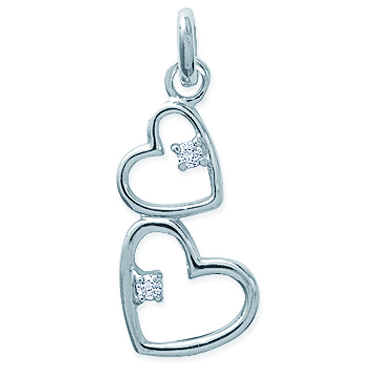 Pendentif Argent \'Love\' blanc argenté (rhodié) - 20x12 mm - [L6670]