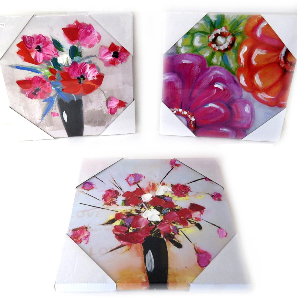 Set de 3 toiles peintes \'Humeur Florale\' tutti frutti (30x30 cm) - [L7819]